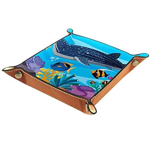 Underwater Whaleshark Fish Ring Catchall Organizador de joyas para carteras, relojes, llaves, monedas, teléfonos celulares y equipos de oficina