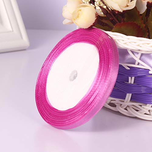 """1/4"""" 6mm Wide 25 Yard Cute Silk Satin Fabric Ribbon Roll Wedding Party Decoration Gift Wrapping Scrapbooking Sewing Making DIY Craft Multi-Colors (Magenta)"""
