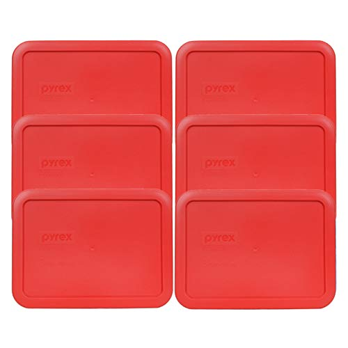 Pyrex 7210-PC 3 Cup Red Rectangle Plastic Food Storage Lid - 6 Pack