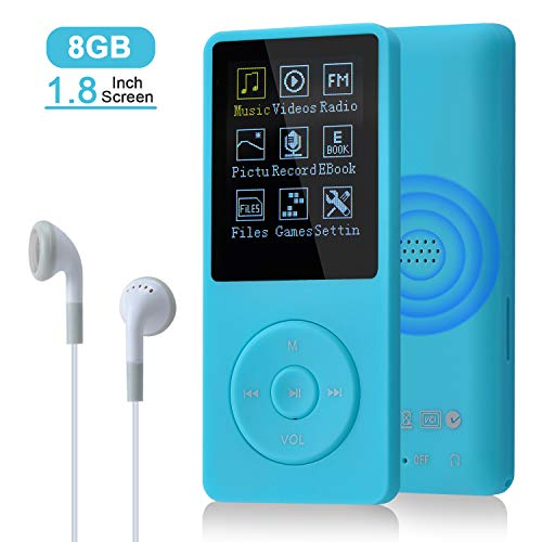 COVVY 8GB(Support bis zu 64GB SD Speicherkarte) Tragbare MP3 Musik Player 70 Stunden Musik Playback Lossless Sound Hi-Fi MP3 Player (Blau)
