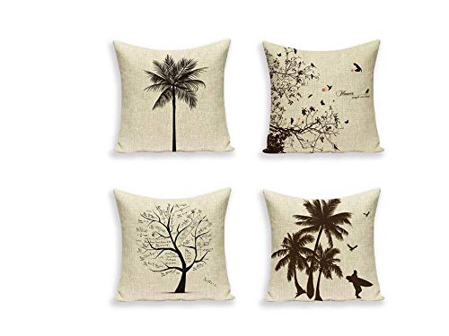Jwqing Pack of 4 Decorative Pillow Covers Retro Simple Scandinavian Pine Tree Pattern Square Cushion Cover Throw Pillow Covers Home Decor for Sofa Bedroom-B_60x60cm(Cushion_Cover)