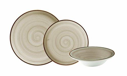 Corona Vajilla, Porcelana, Gris, 23x29x30 cm, 18 Unidades