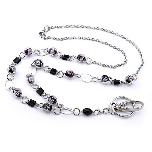 LUXIANDA Generous Lanyard for Keys Badge Lanyards for Women ID Necklaces Badge Holder Stainless Steel Chain