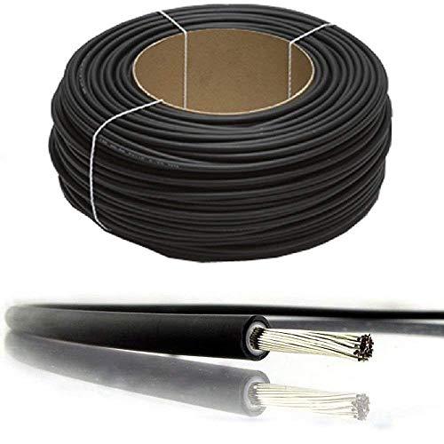 Cable PV para panel solar con doble aislamiento, de 4 mm², 6 mm², 10 mm², 1800 V, de calidad, negro y rojo, nominal CC, de BMF DIRECT®, 10 Metres, 10 mm2 negro.