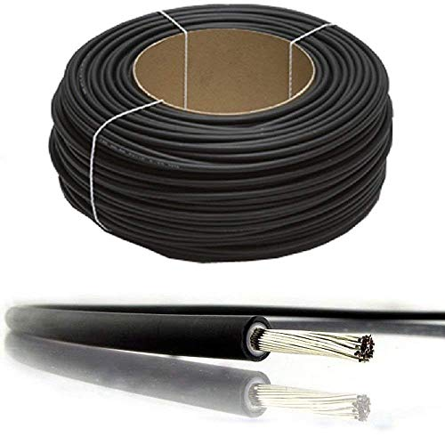 Cable PV para panel solar con doble aislamiento, de 4 mm², 6 mm², 10 mm², 1800 V, de calidad, negro y rojo, nominal CC, de BMF DIRECT®, 20 Metres, 6 mm2 negro.