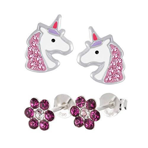Five-D, 2 paia di orecchini per bambini, a forma di unicorno e fiore, in argento 925 e cristalli, con cofanetto e Argento, colore: Cristalli rosa., cod. set363-V