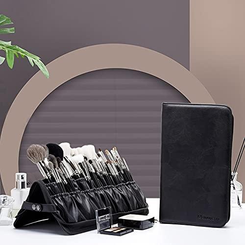 PPuujia Bolsa de almacenamiento para brochas de maquillaje, herramienta de maquillaje, plegable, de gran capacidad, vertical, con cremallera, color negro