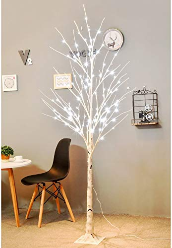 Bolylight Birch Tree with Light 6ft 96L LED Lighted Tree Christmas Decorations for Bedroom Party Wedding Office Home Outdoor and Indoor Use White