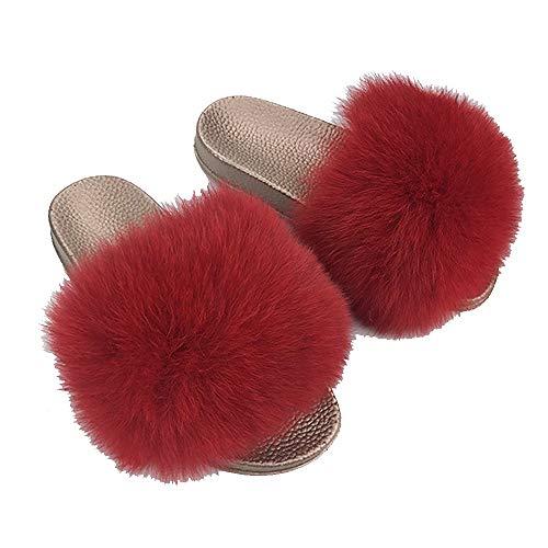 Damen Hausschuhe Plüsch Süße Pantoffeln Weiche Flache Kunstfell Fuchsfell Sommer-Sandalen Indoor Outdoor,Farbe Q,EU 41