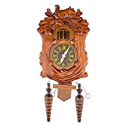 CLEVER GARDEN Large Wooden Traditional Cuckoo Clock House with Squirrels & Pendulum | Home & Kitchen Décor | Wall Clock Decoration | Bird Cuckoos on The Hour | Wood