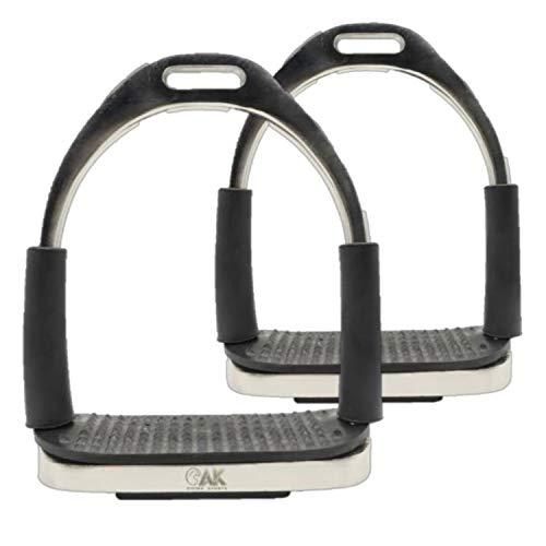 AK Flexi plegable de acero inoxidable para montar a caballo, estribos ecuestres con banda de rodadura negra (4.75 pulgadas, plateado)