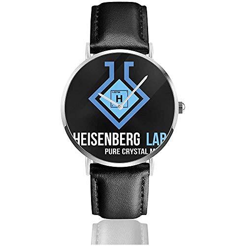 Breaking Bad Heisenberg Lab Pure Crystal Meth Relojes Reloj de Cuero de Cuarzo con Correa de Cuero Negro para Regalo de colección