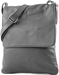 """Italian Real Soft Genuine Leather mini sized Cross Body Messenger Shoulder Bag Top Zip opening under the flap and a back zip pocket Height 23 cm (9""""), Width 18 cm (7""""), Depth 2 cm (0.8""""), Shoulder Strap Length 131 cm (51.5""""), Fully fabric lining insi..."""