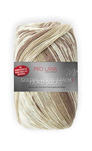Unbekannt Pro Lana Fjord Socks 4-fädig Color 181 beige braun, Sockenwolle Norwegermuster musterbildend, 278477