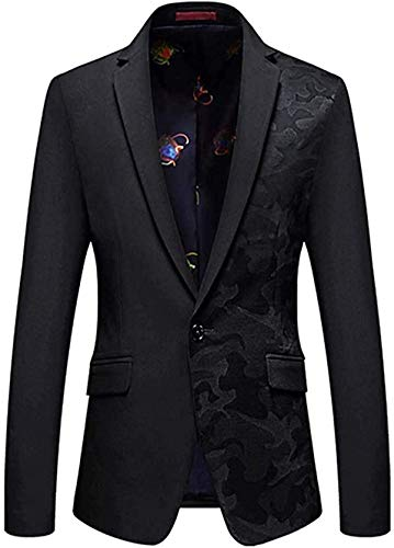MOORRLII Men's Spring Blazer Black with Floral Slim Fit Notched Lapel