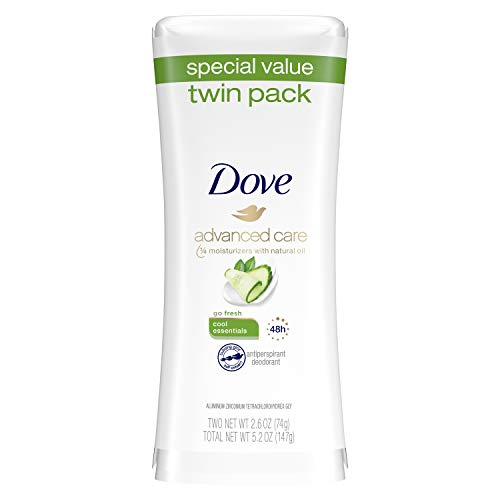 Dove Advanced Care Antiperspirant Deodorant Cool Essentials 2.6 oz, Twin Pack
