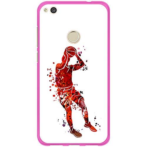 BJJ SHOP Funda Rosa para [ Huawei P8 Lite 2017 ], Carcasa de Silicona Flexible TPU, diseño: Jugador de Baloncesto Watercolor