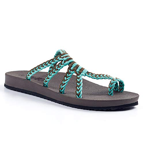 Plaka Relief Flip Flops for Women with Arch Support | Comfy Sandals for Women | Perfect for The Beach, Long Walks or Poolside | Reduces Heel & Back Pain | Turquoise Gray | Size 7