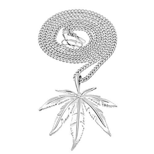 YABEME Collar Pendiente del Acero Inoxidable Collares Marihuana Weed Hoja de los Hombres con la Cadena de 23,6 Pulgadas