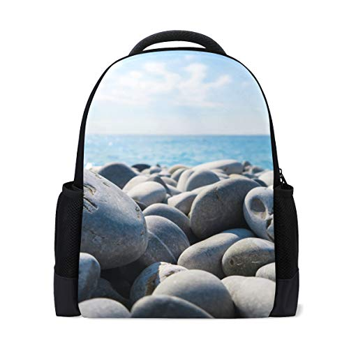 FANTAZIO - Mochila de playa con diseño de rocas y cielo azul