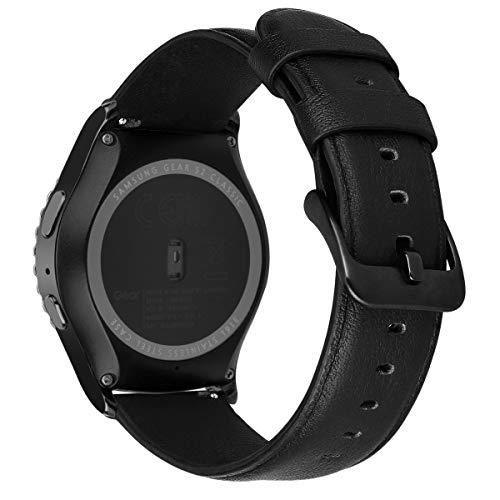MroTech Lederarmband kompatible mit Samsung Galaxy Active 2 Armband 20mm Uhrenarmband Ersatz für Galaxy Watch 42mm/Active/Active2 40mm/44mm Ersatzarmband Einfaches Schwarz Band mit schwarzer Schließe