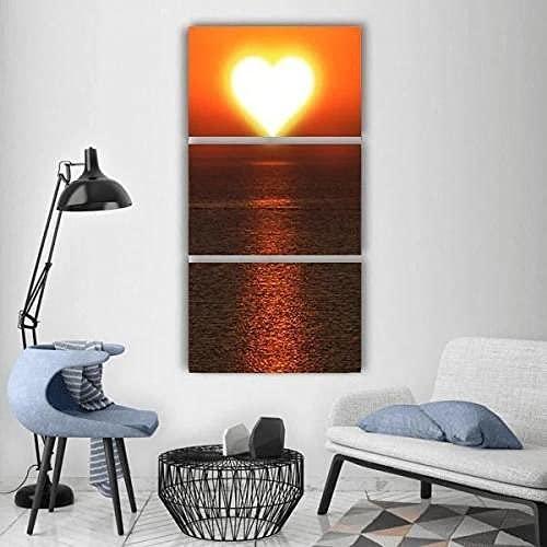 WERSD Canvas väggkonst sol för vitamin D3 hjärta kärlek på havet HD-tryck bild utsträckt konstverk målning bild 3 delar dukar för hemmet sovrum dekoration