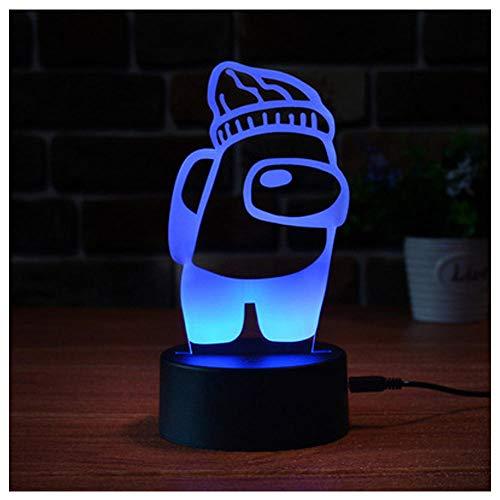 Entre los Estados Unidos LED LIGHT LIGHT 3D Illusion Lámpara de mesa, 3 colores Cambios LED Luz ambiental, lámpara con alimentación USB, regalos de vacaciones y cumpleaños para niños-6_tres colores
