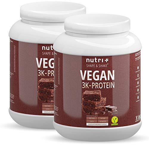 EIWEIßPULVER VEGAN Chocolate Brownie 2000g - Mehrkomponenten Protein Pulver Schokolade - Pflanzliches Proteinpulver Schoko lactosefrei 2kg - Eiweiß Shake nicht nur für Veganer