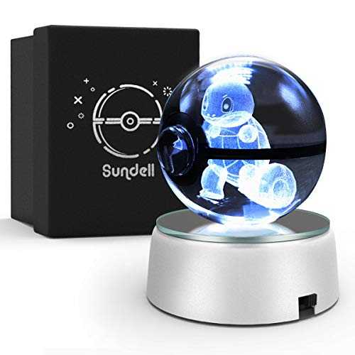 Gifts for Christmas, Sundell Unique Birthday Gifts for Children, 3D Crystal Ball with Discoloration Lamp Base, Children's Gift in Gift Box (Squirtle)