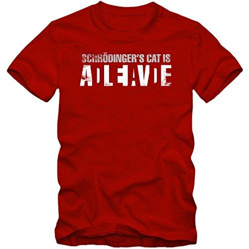 Schrödingers Cat Shirt Sheldon Shirt TBBT Nerd Shirt Big Bang Theory, Farbe:Rot (Red L190);Größe:L