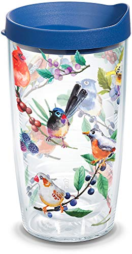 Tervis Watercolor Songbirds Insulated Tumbler with Wrap and Blue Lid, 16 oz, Clear