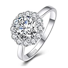 HIGH QUALITY – This stunning ring sparkles to perfection with vibrant CZ cubic zirconia diamond stones. Silver weight: 3.6g, gemstone number: 12pcs 2.25mm 、1pcs 8.0mm. SAFE & COMFORTABLE – Carefully constructed with high quality for comfortable wear ...