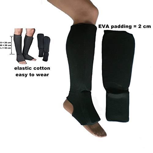 Schienbeinschoner für Muay Thai Boxen Sparring aus elastischer Baumwolle (groß)