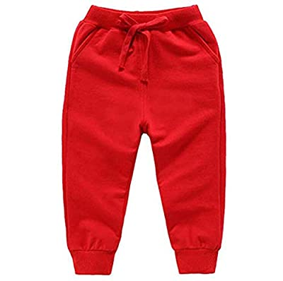 HAXICO Unisex Kids Solid Cotton Drawstring Waist Winter Pants Toddler Baby Bottoms Active Sweatpants Red,110(4T)