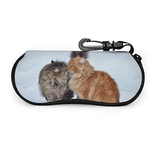 Occhiali da sole Cat Kiss invernali con fibbia lucida. Custodia per occhiali