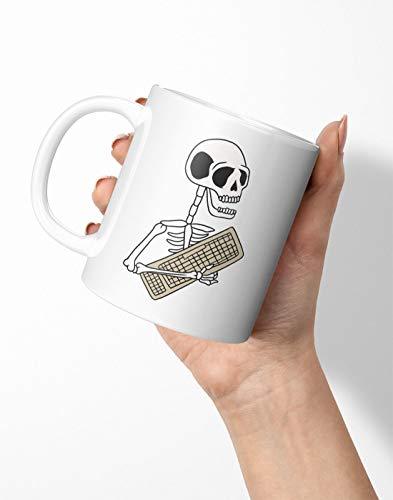 BLAK TEE Funny Halloween Skeleton Keyboard Porcelain Coffee and Tea Mug 330 ml
