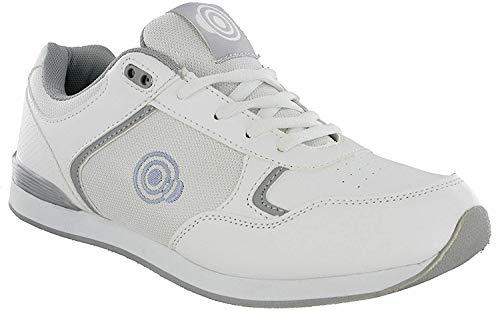 (10 UK, White /Grey) - DEK JACK Mens Lace Up Bowling Shoes/Trainers White/Grey