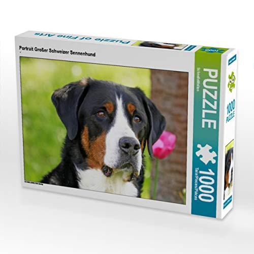 CALVENDO Puzzle Portrait Großer Schweizer Sennenhund 1000 Teile Lege-Größe 64 x 48 cm Foto-Puzzle Bild von SchnelleWelten