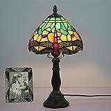 WLWLEO 110-240, persiana de Cristal Hecha a Mano del Estilo de Tiffany lámpara de Mesa Verde Rojo de la libélula Creativo patrón para Sala de Estar Dormitorio de Noche, E27,Verde