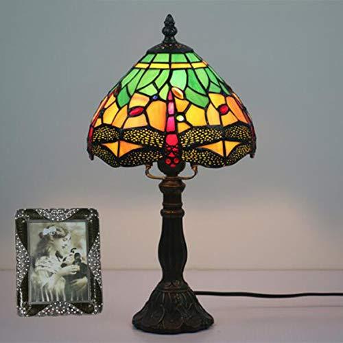 WLWLEO 110-240 V Tiffany-zonnescherm van glas in de stijl van de tafellamp rood groen Dragonfly creatief in de woonkamer, slaapkamer, nachtkastje, E27