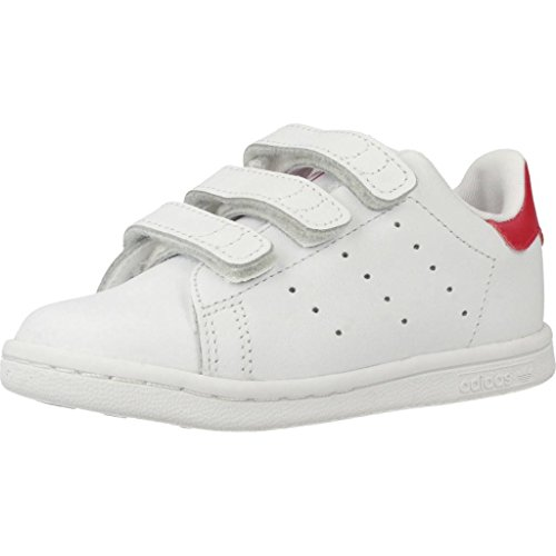 adidas Stan Smith CF I, Sneaker Unisex-Bambini, Bianco (Footwear White/Footwear White/Bold Pink 0), 22 EU