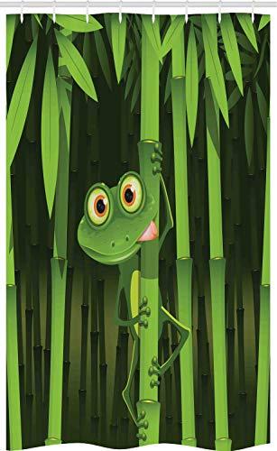 ABAKUHAUS Bambus Schmaler Duschvorhang, Dschungel-Bäume-Spaß-Frosch, Badezimmer Deko Set aus Stoff mit Haken, 120 x 180 cm, Grün