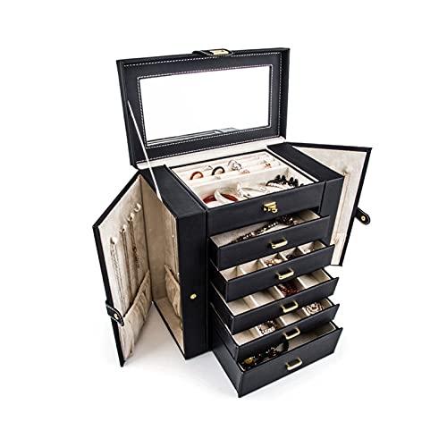 WPJ Jewelry Box/Organizer, Caja de joyería con Espejo con asa, Caja de Almacenamiento de Viaje de Cuero Suave de Alta Capacidad para Pulseras, Collares, Anillos, Pendientes (Color : Black)