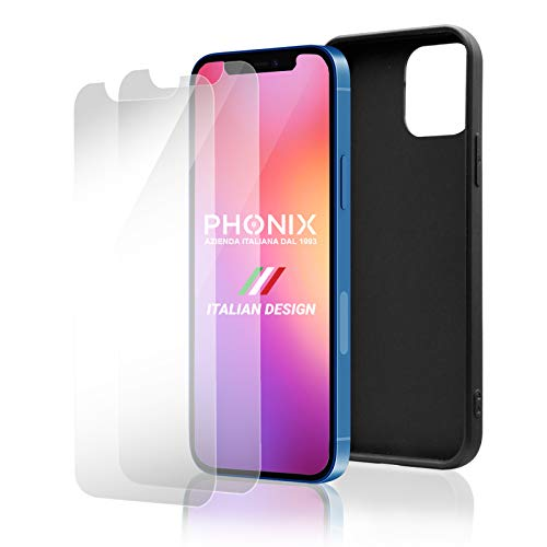 Phonix [2pz.+1 Cover per iPhone 12 e 12 PRO + 2pz. Vetro Temperato Garanzia Italiana | Custodia Silicone Colorata + 2pz. Pellicola Vetro Protettiva | Proteggi Schermo AntiGraffio (Cover Nera)