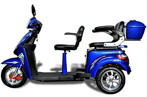 Elektromobil ECO Engel 503 Blau, 1000 Watt, 25 km/h, Seniorenmobil 2 Sitzer mit Straßenzulassung E-Scooter E-Roller