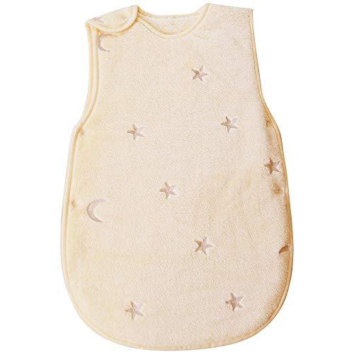 PUPPAPUPO スリーパー 【スター×ムーン 】 フランネル 星と月の刺繍入り 防寒 出産祝い(クリーム)