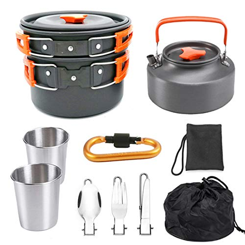 UG1 Pots and Pans Set, Non-Stick Cookware Set Pots and Pans-8-Piece Set, Can be Used in Camping and Home Scratch Resistant Easy to Clean Portable, Dark Gray,Red