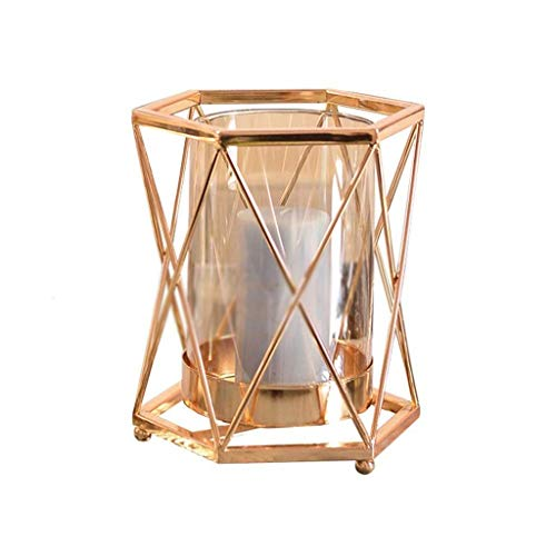 XLEVE Geometric Candle Holder, Nordic Metal Style Candle Holder, Glass Column Candle Crystal Candle Table Lamp Home Decoration
