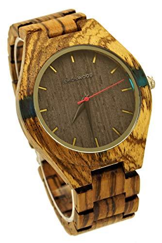 Armbanduhr aus Holz Holzuhr aus Zebranoholz Damenuhr Herrenuhr Quarzuhr Lemonwood Freedom