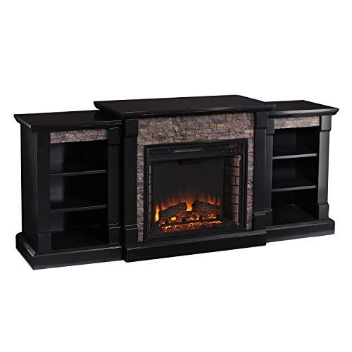 SEI Furniture Gallatin Faux Stone Electric Bookcases Fireplace, Satin Black